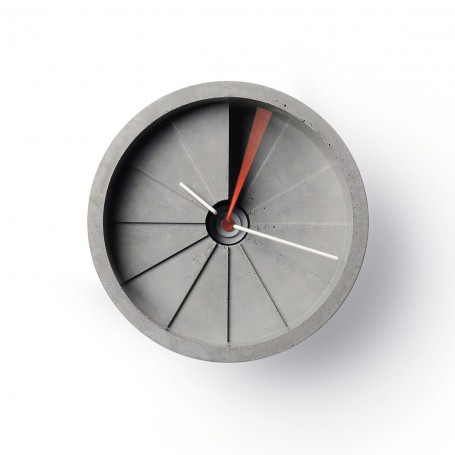 22 Design // 4th Dimension Wall Clock // 150mm - Red/Grey